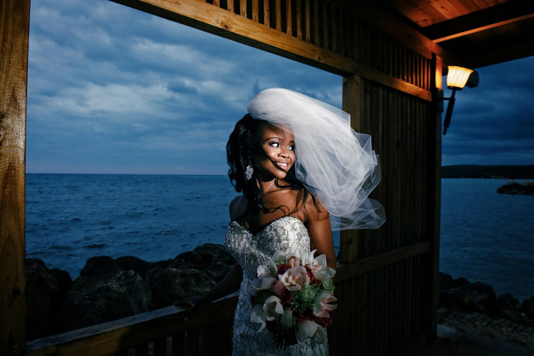 Bridal portrait on the beach, wedding in Jamaica