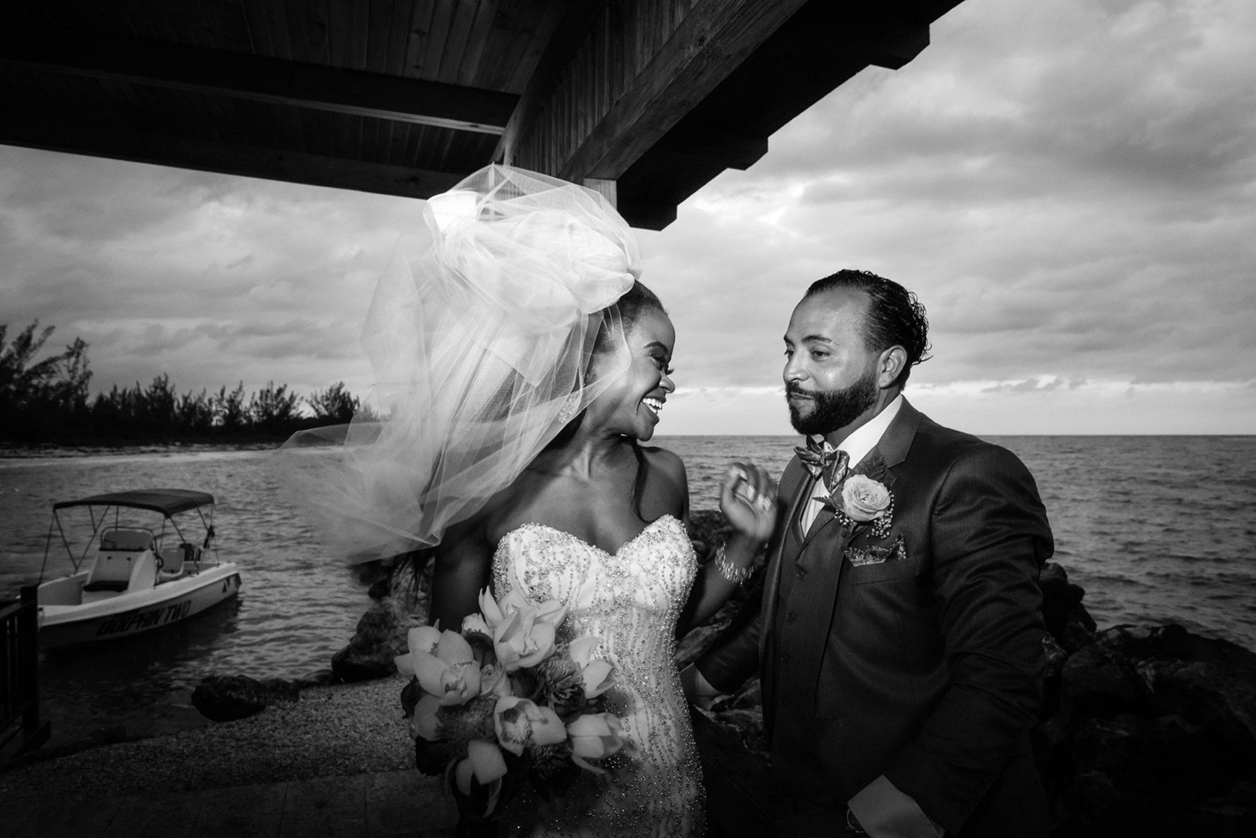 Bride and groom portrait, destination wedding in Jamaica