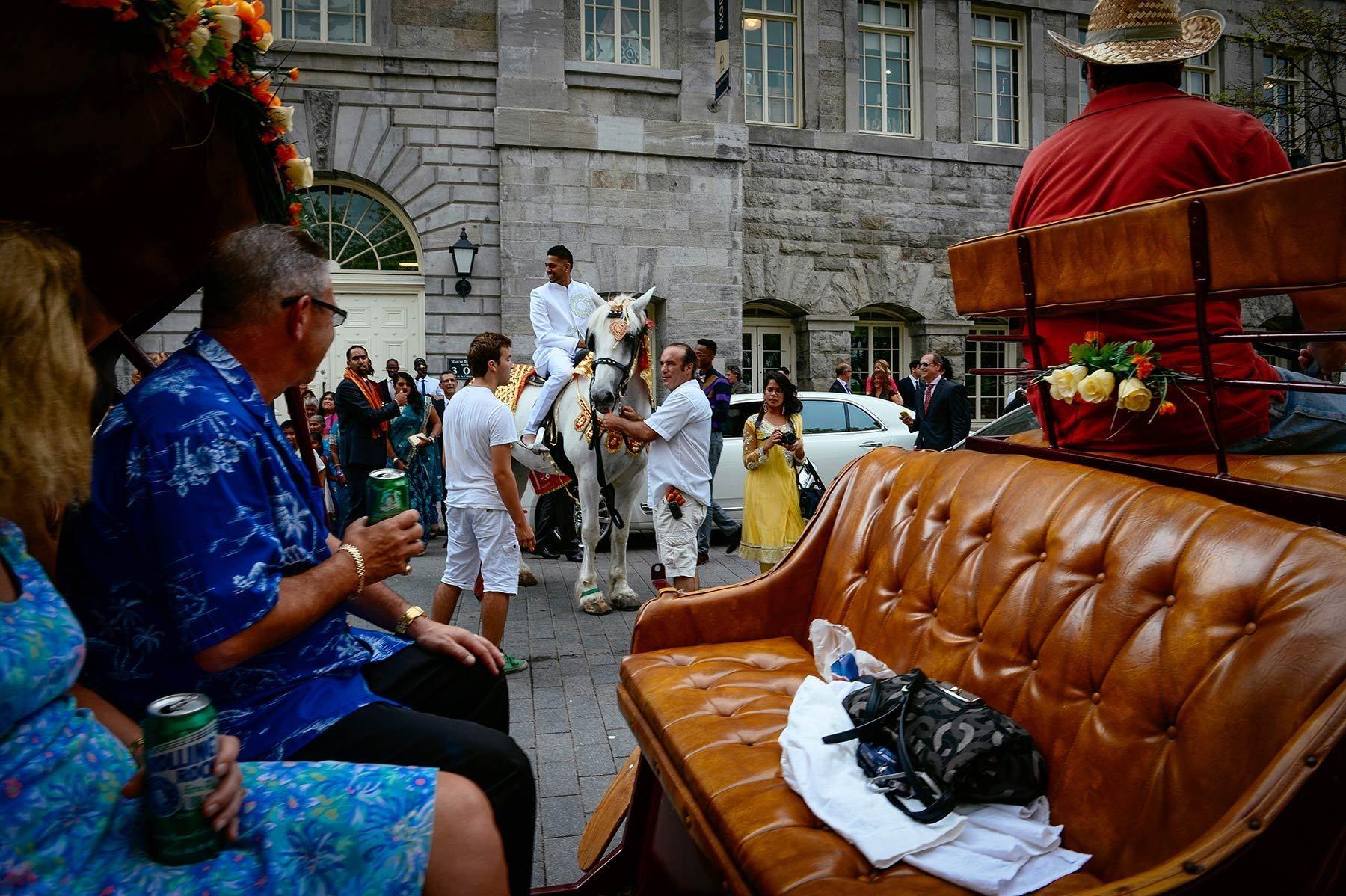 Indian wedding in Old port Montreal,  baraat , groom's wedding procession