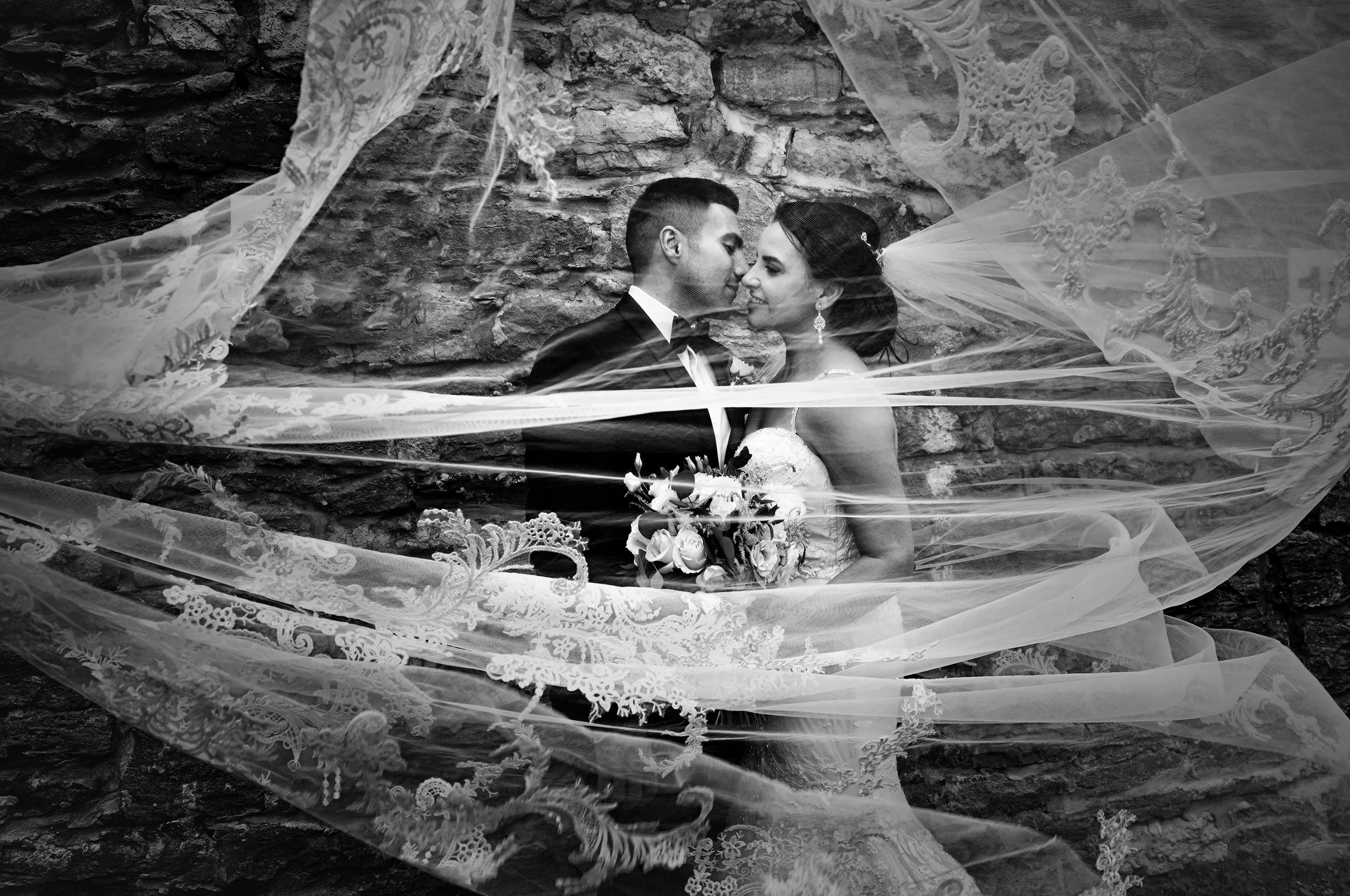 Bride and groom portrait in Montreal