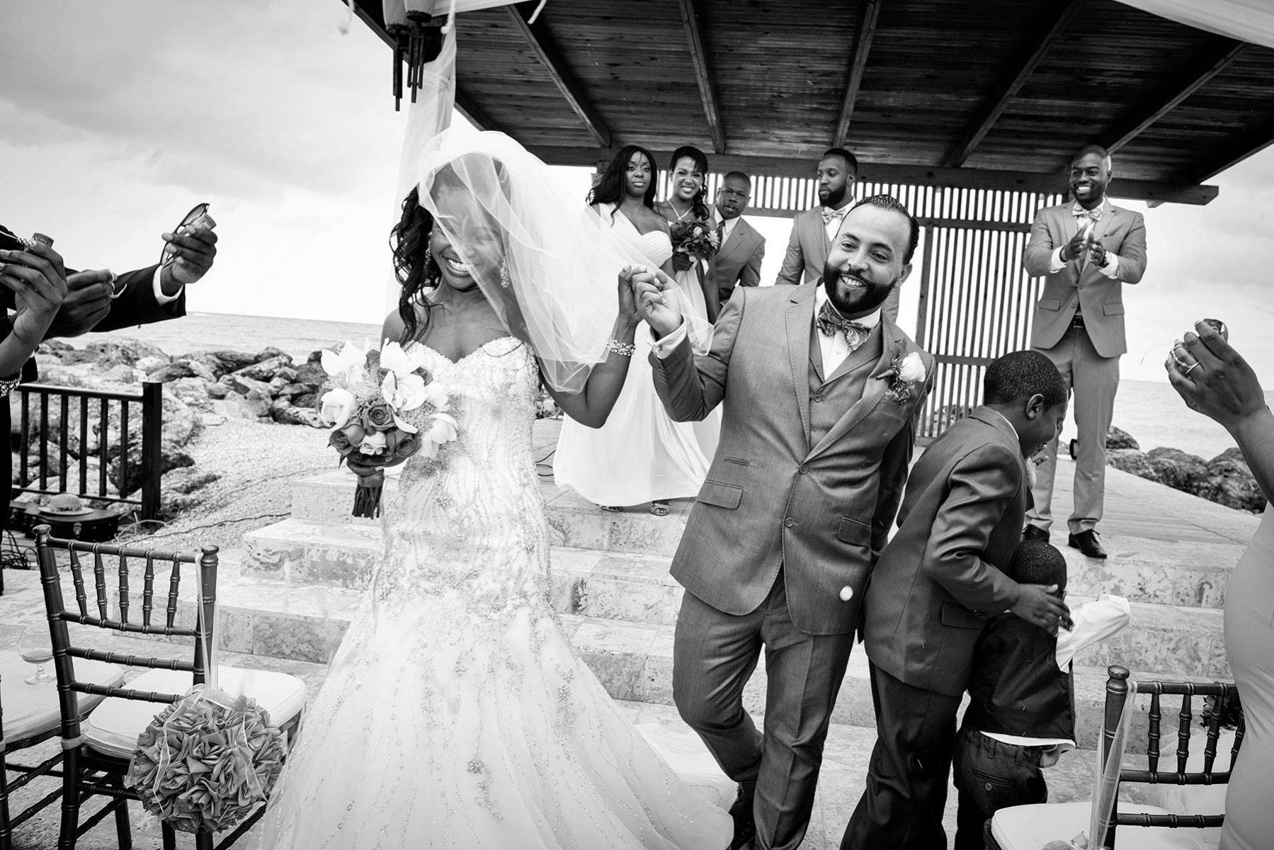Wedding in Jamaica, exit of the bride and groom
