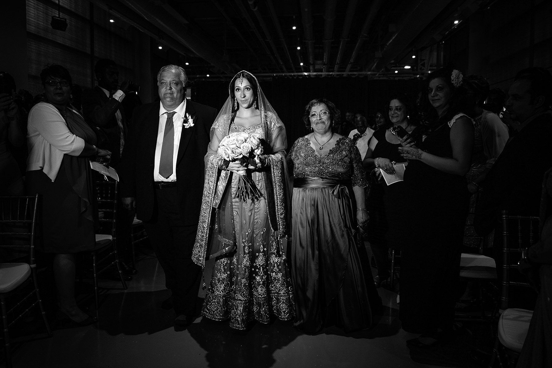 Montreal indian wedding, bride arriving for the  ceremony
