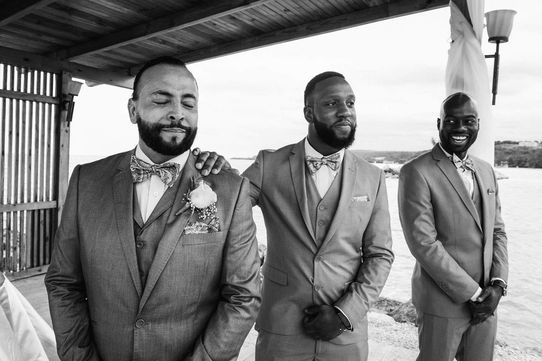 Wedding ceremony in Jamaica, emotional groom's reaction