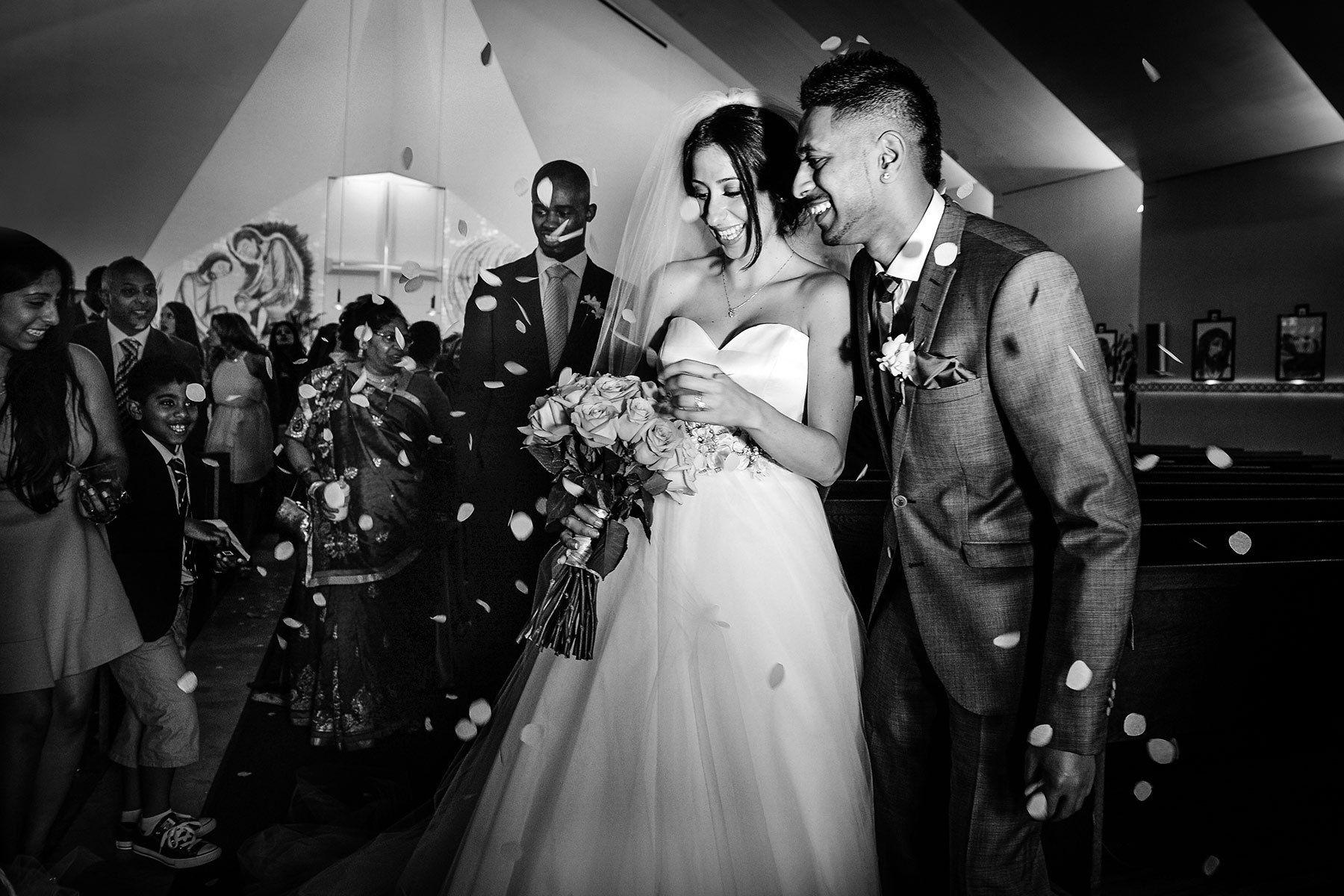 Montreal wedding ceremony, happy bride and groom