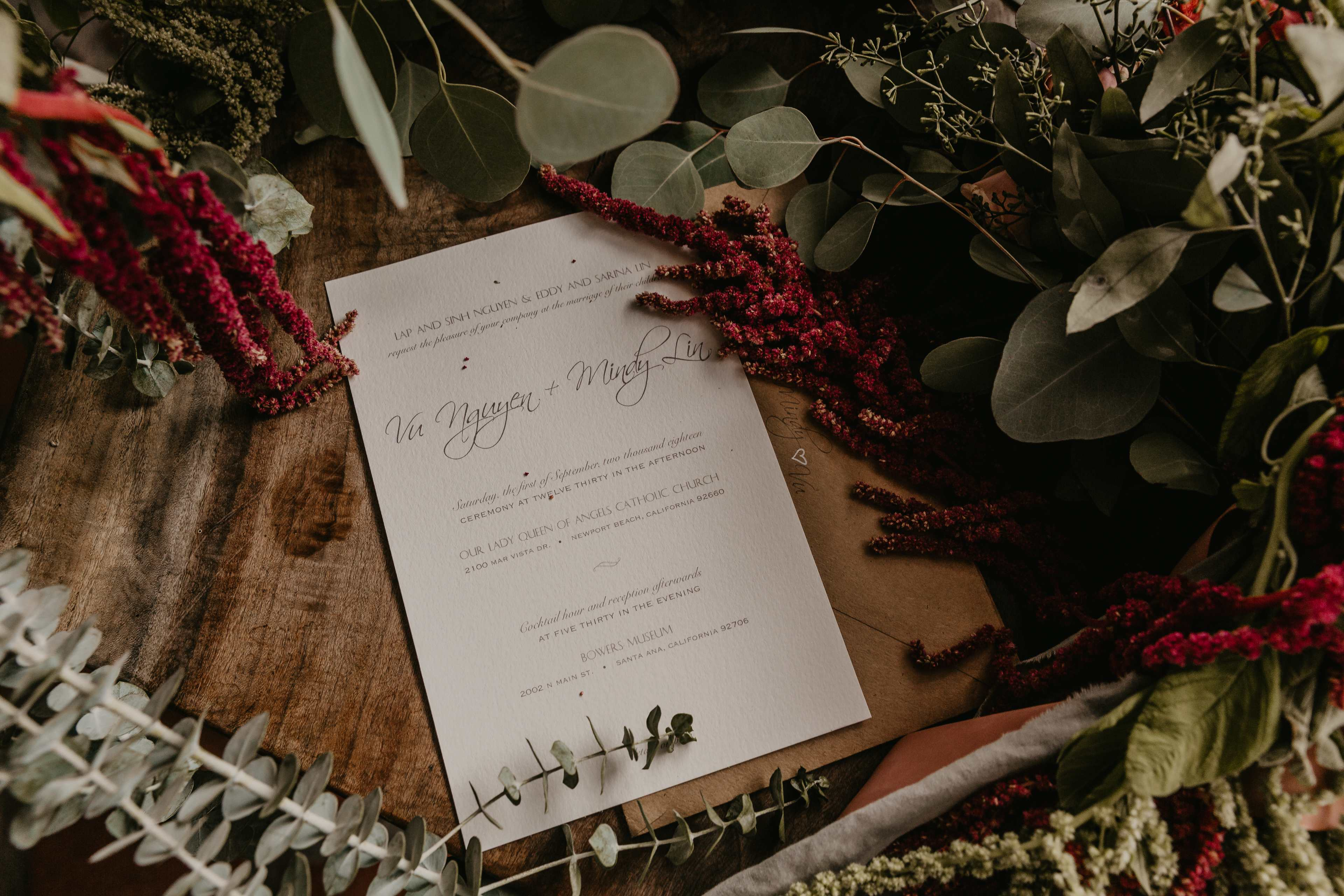Mindy+Vu Wedding Invitation fall Wedding