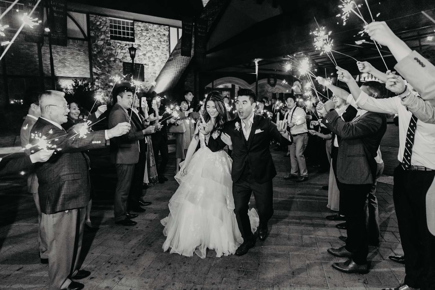 wedding photographer Anaheim, Orange County, la, oc, wedding, photographer, photo, sparkler exit, happy, whoo