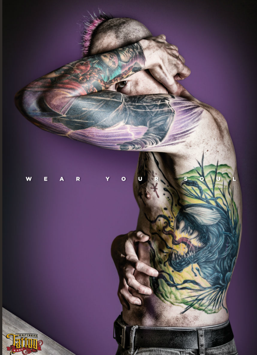Tatooed man. Commercial fashion photography by Donald Chambers.