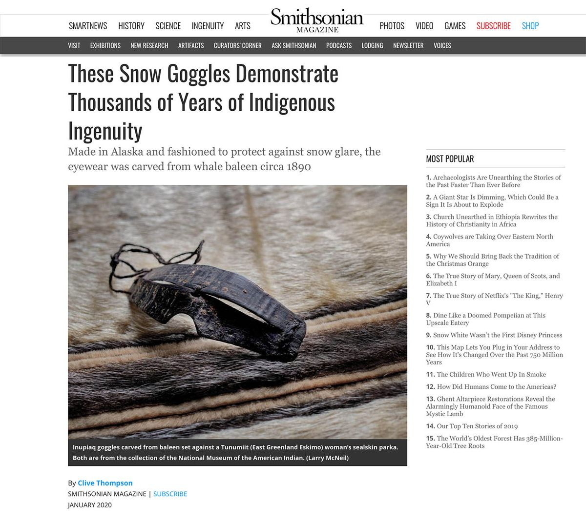 Smithsonian Magazine Website, Snow Goggles, National Treasure