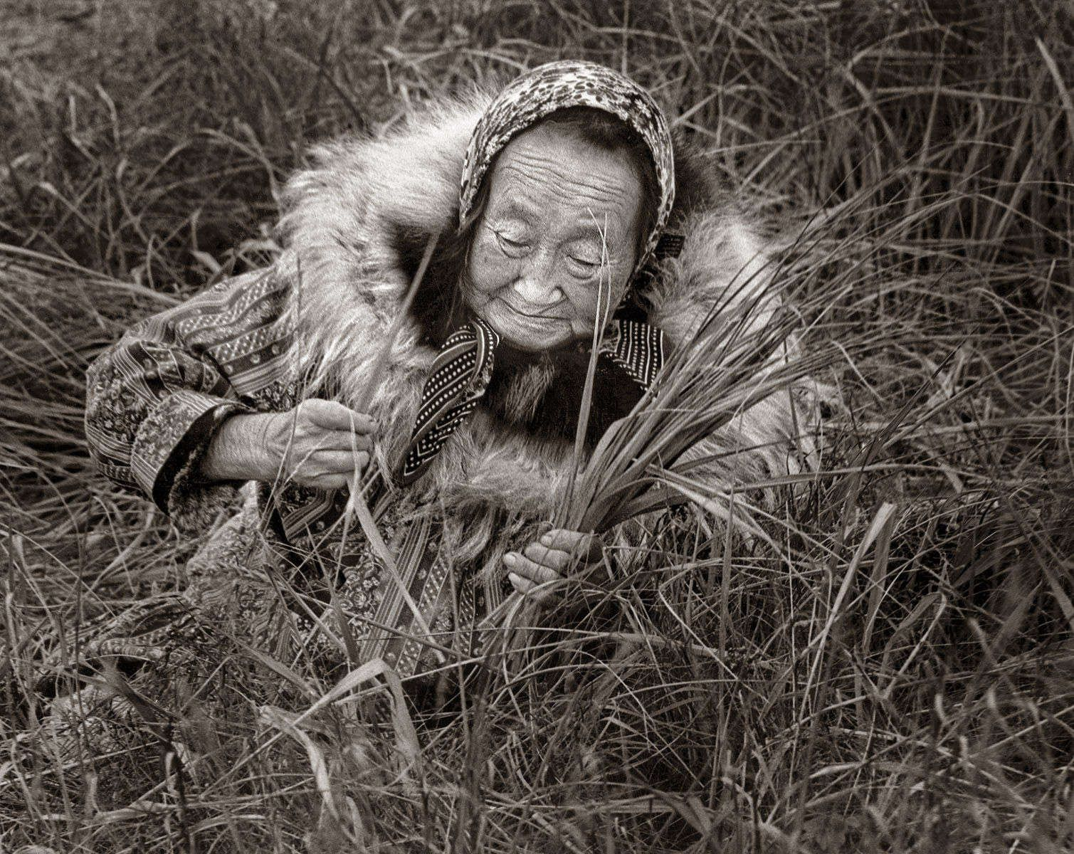 "CLARA ALUSKA, FROM THE ""YUPIK LADIES BASKET SERIES,"" photograph 1981"