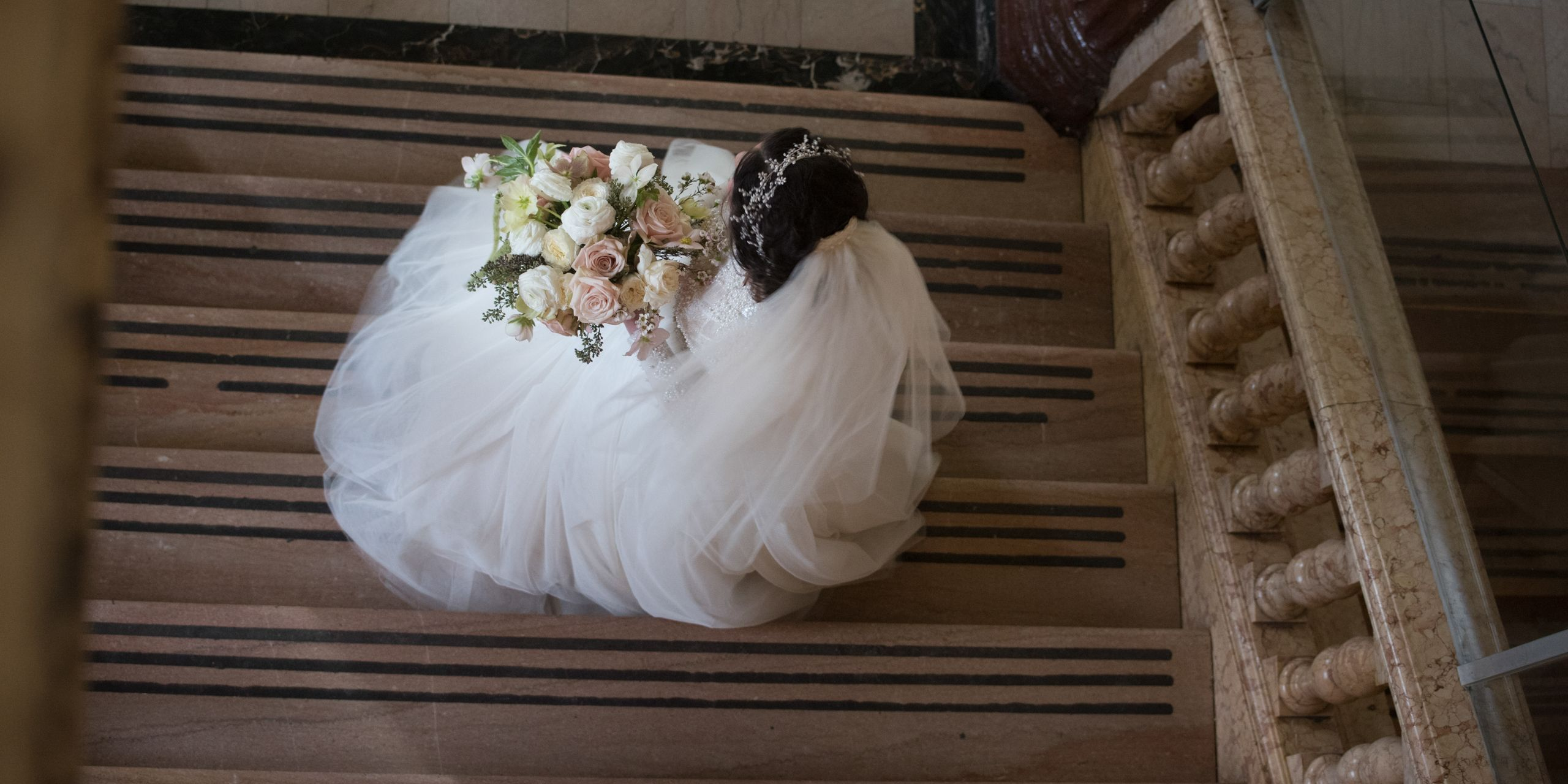 Birds eye  view of a bride on staircase, Manhattan