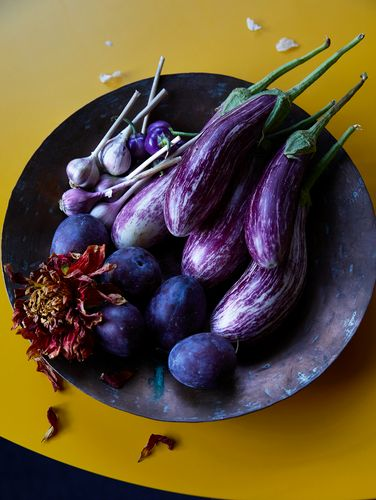 eggplants and garlic in copper bowl.jpg