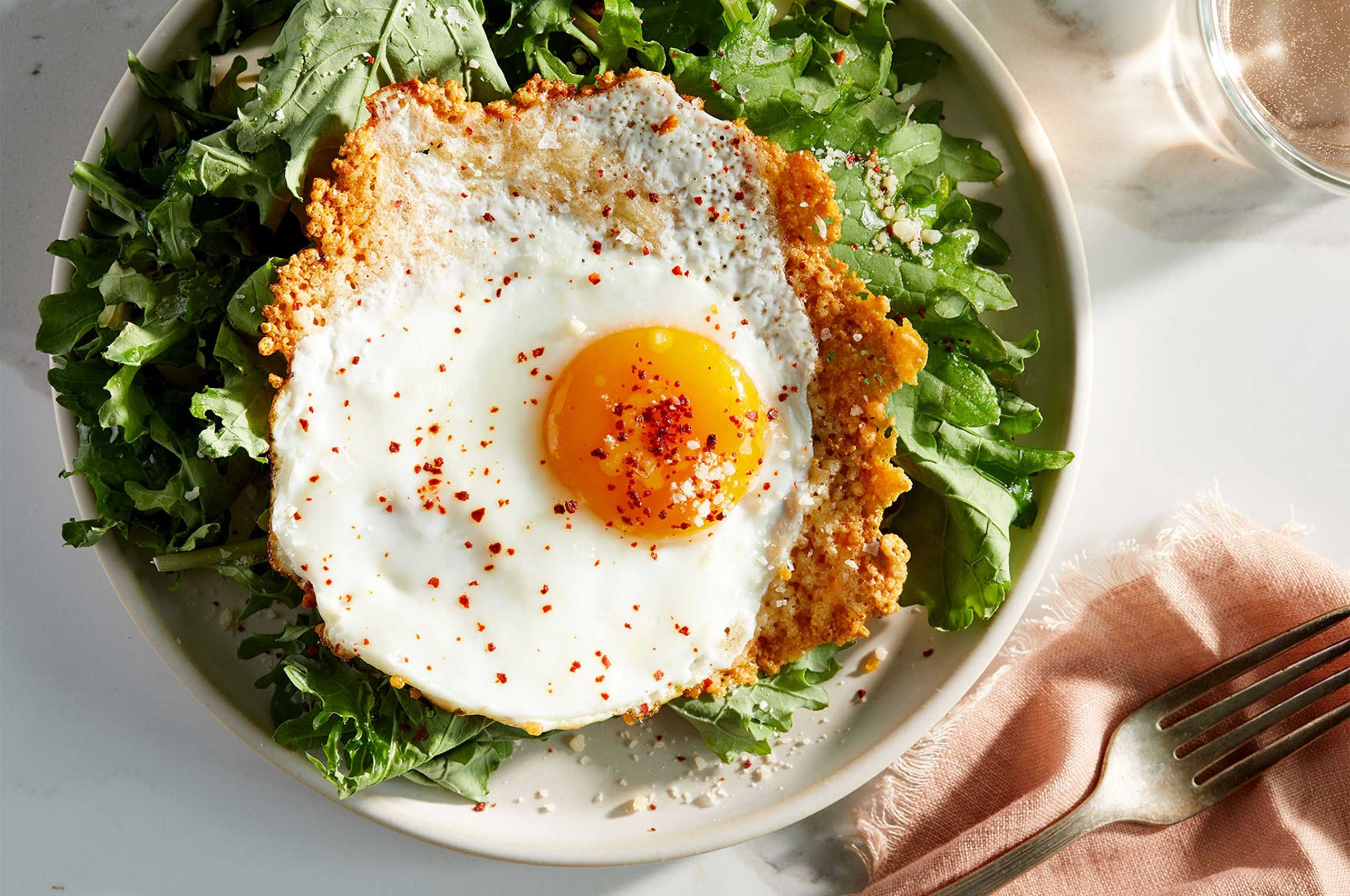 Salad with a Parmesan Fried Egg