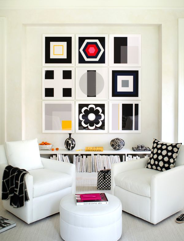 Black & White Art Wall featured in Aspire Show House room in McLean, VA. Interior by Mary Douglas Drysdale.