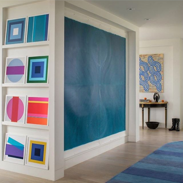 Color Block Art Installation in Bethesda, MD penthouse.    Interior by Mary Douglas Drysdale.