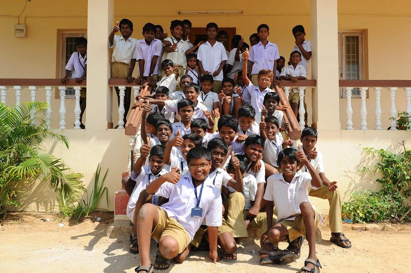 Nearby village students with their new shoes