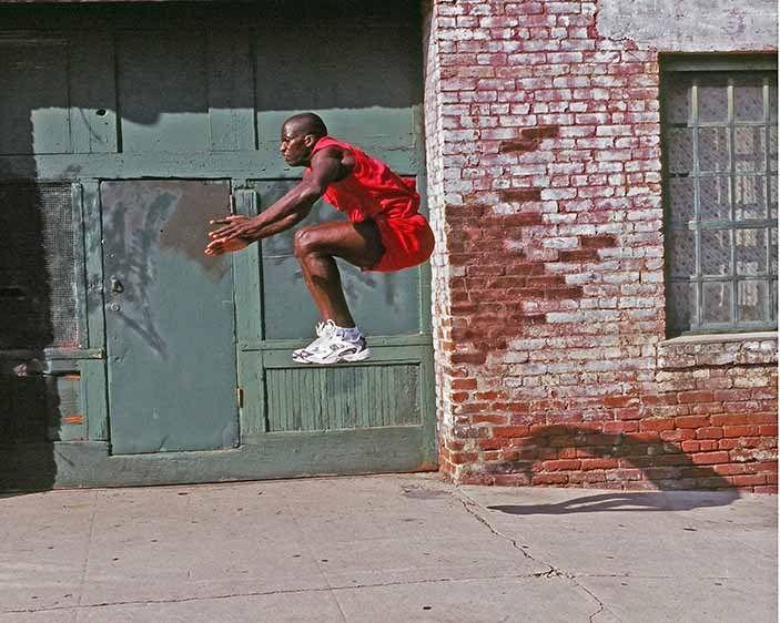 New Balance shoes on athlete jumping