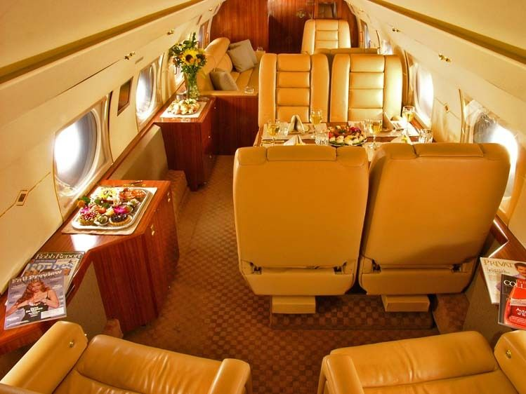 Gulfstream III jet interior view to aft