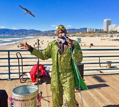 Rhythm and Blues singer on Santa Monica Pier