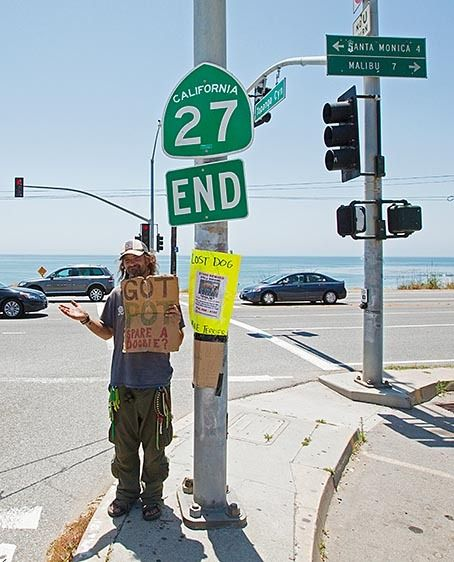 Homeless man willing to exchange pot for food.