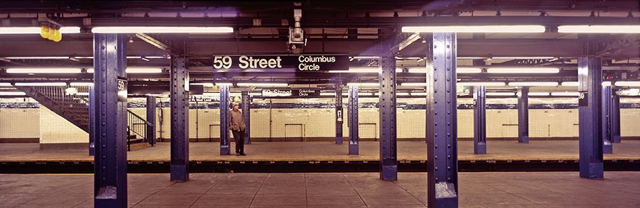 Man waiting for New York City subway