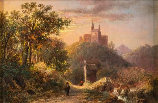 Joseph Antonio Hekking  Chapel by the Wayside Italian Scenery unframed
