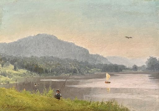 Hermann Herzog Fisherman by a Mountain Lake unframed