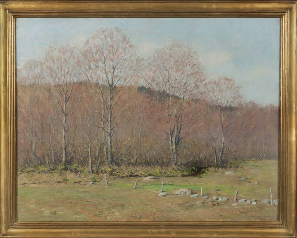 Clark Greenwood Voorhees Spring Landscape with Fence Posts Framed