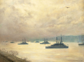 Mary Fairchild Low Battleships on Hudson Unframed