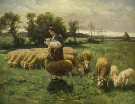 Elmer Ellsworth Garnsey Shepherdess in a Field  Unframed