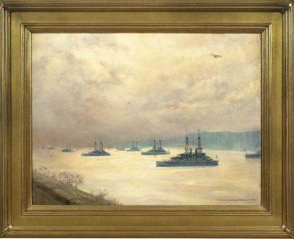 Mary Fairchild Low Battleships on Hudson Framed
