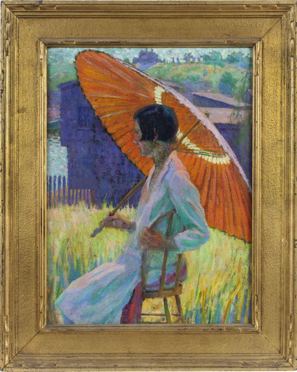 GRACE COCHRANE SANGER  Woman with Red Parasol Framed