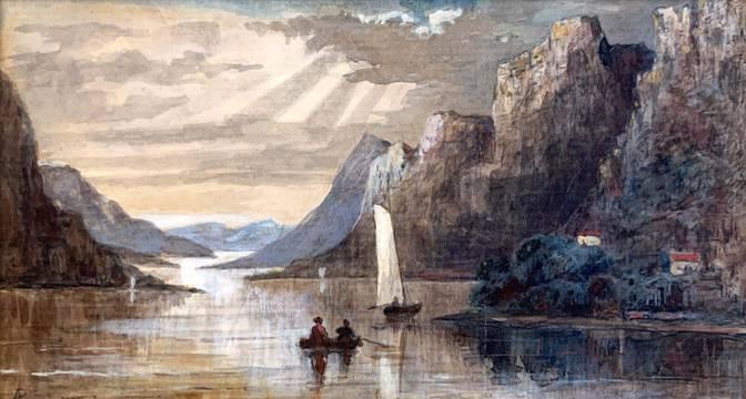 John Adams Parker Rowboat and Sailboats on the Hudson River unframed