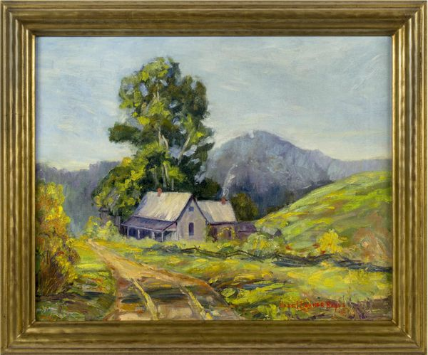 Hazel Barker Hayes  House in a Mountain Landscape Framed