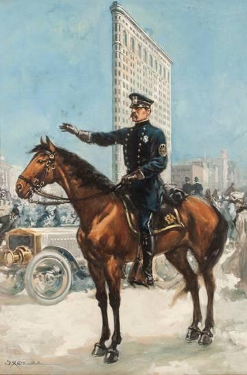 Frank Tolles Chamberlain Policeman on Horseback, Flatiron  Unframed