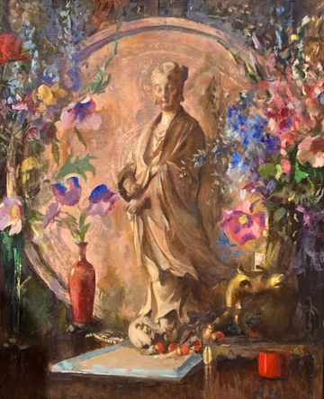 Edmund Charles Tarbell Still-life with Flowers and Statue, 1936