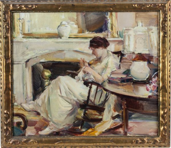 ELIZABETH SPARHAWK-JONES Woman in an Interior Framed