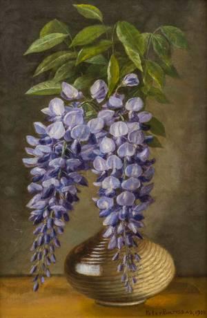 Peter Baumgras Wisteria in a Vase Unframed