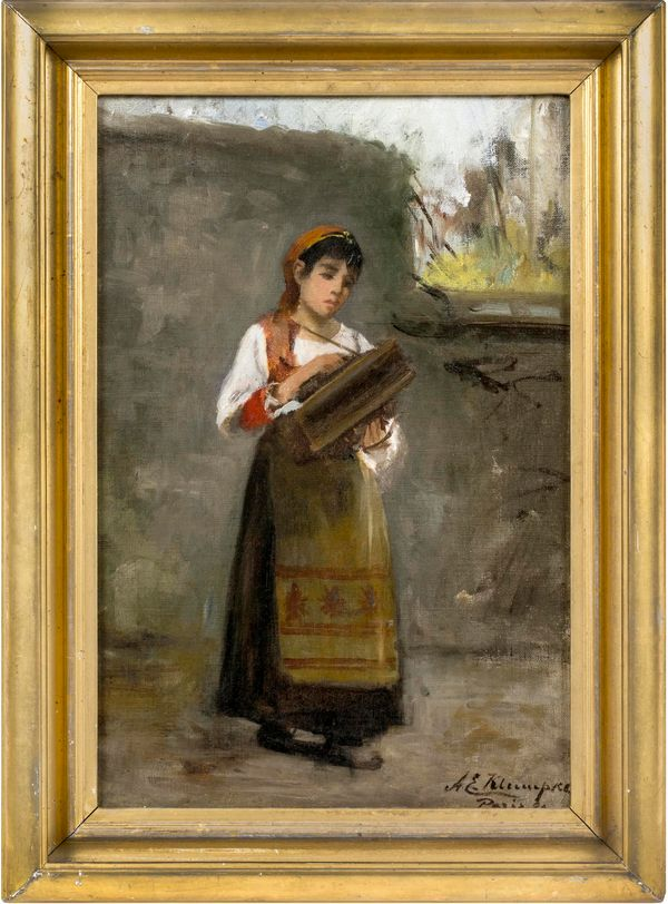 Anna E. Klumpke Young Lady with an Accordion, 1899