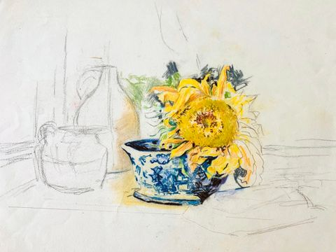Mary Lane McMillan Sunflower in an Oriental Pot
