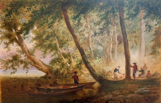 George Henry Burgess Campfire Scene with Settlers and Native Americans unframed