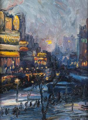 Pieretto Bianco Bortoluzzi (1875 - 1937) Notte D'Inverno {Winter Night} Unframed