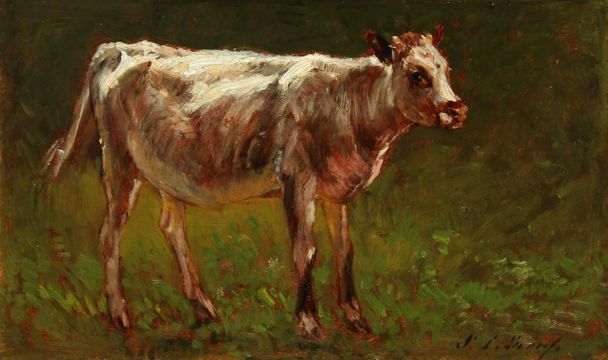 Samuel Lancaster Gerry Cow in a Landscape unframed