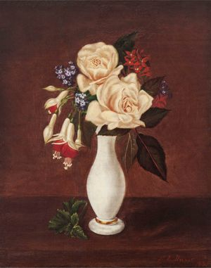 Sarah E. Davis Still Life of Roses in an Alabaster Vase