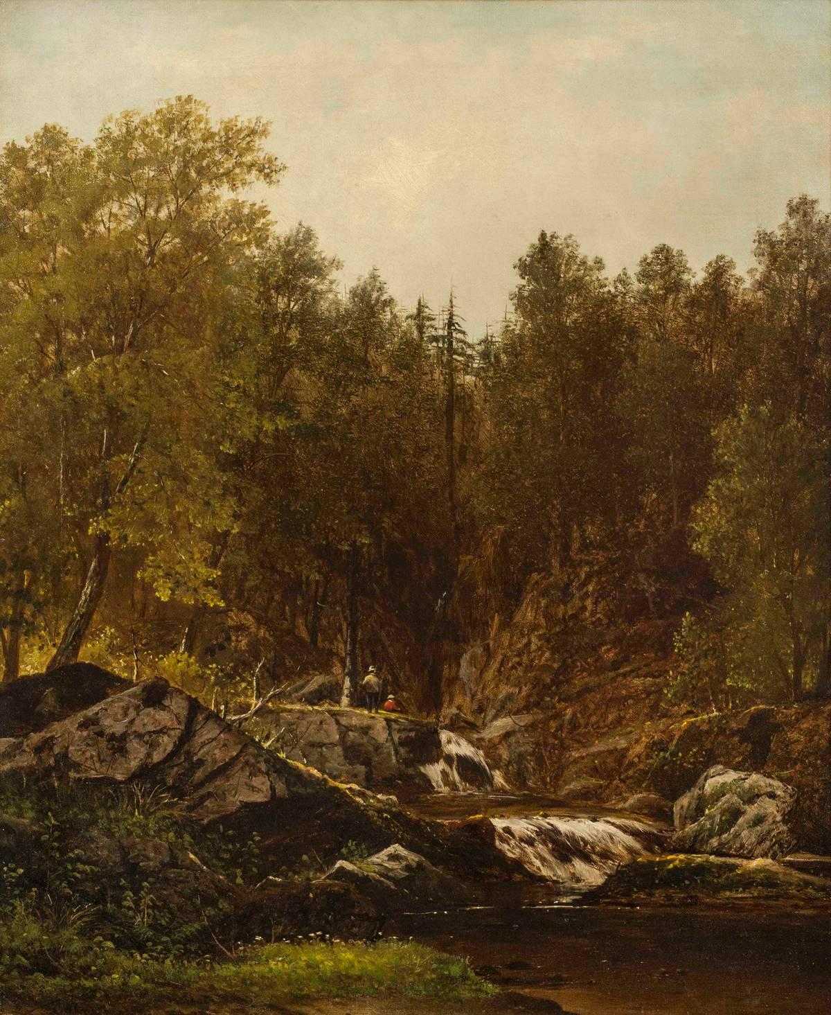Charles Wilson Knapp Fishermen by a Brook Unframed