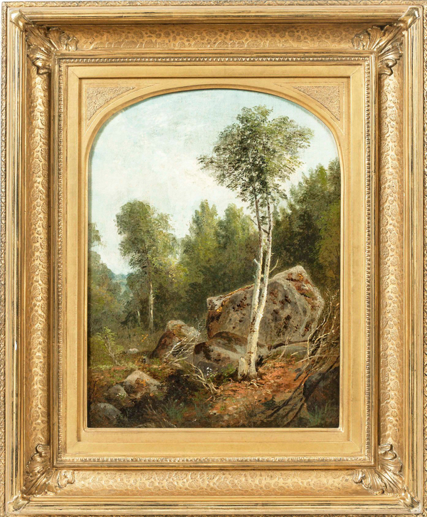 Agnes Brown Landscape with White Birch Framed