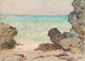 Clark Greenwood Voorhees Rocks Framing Beach Scene
