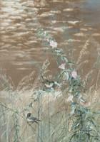 FIDELIA BRIDGES  Birds in a Marshland Landscape Unframed