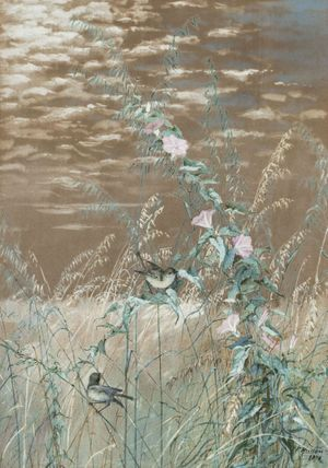 FIDELIA BRIDGES  Birds in a Marshland Landscape Unframed