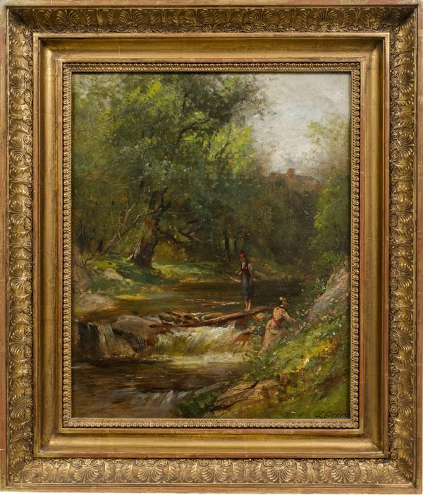 Samuel Lancaster Gerry Ladies Hiking in the White Mountains Framed