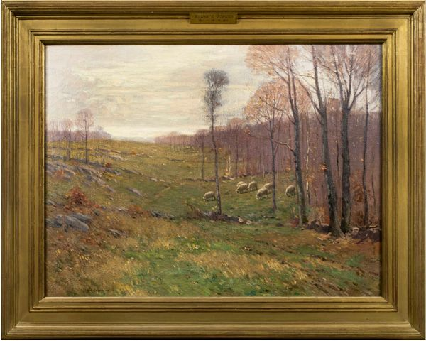 William S. Robinson Sheep in Meadow Framed